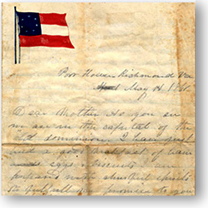Civil War era letter with flag letterhead