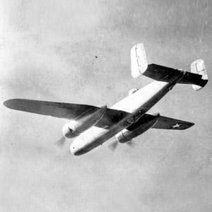 Twin Engine Airplane in flight