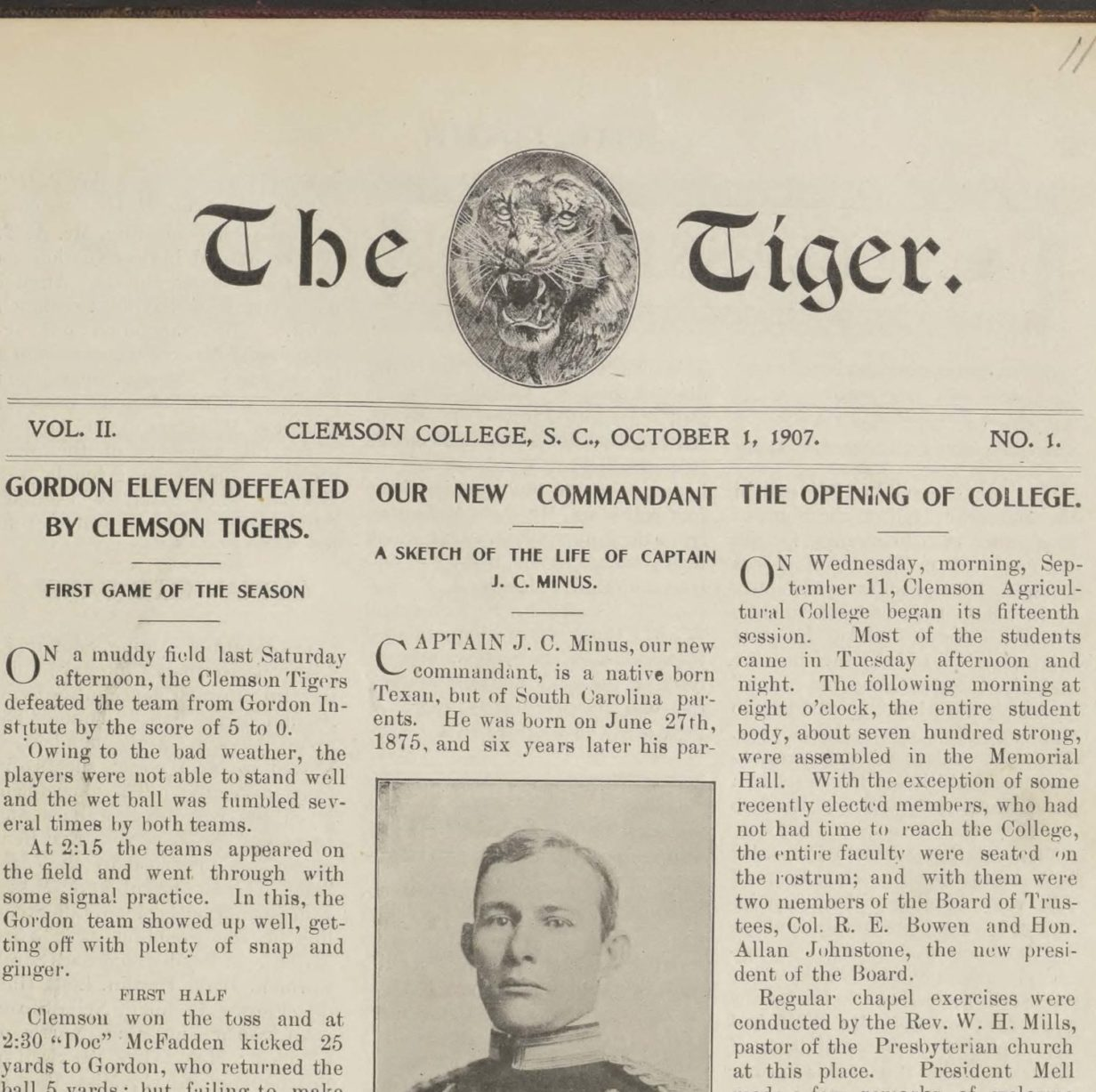 Cover of the Tiger Newspaper, 1907