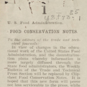 food conservation notes