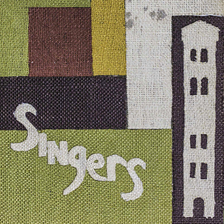 "A fabric collage with the word ""Singers"" written diagonally"