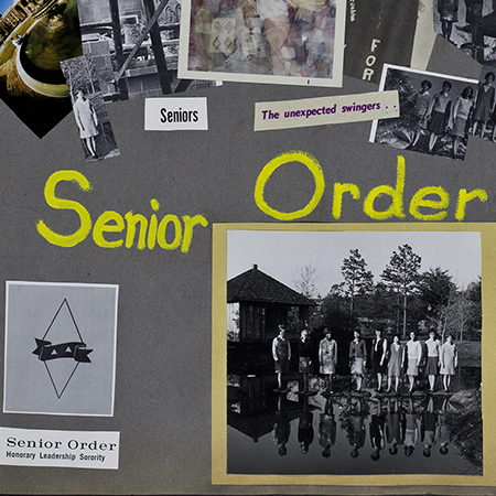 """A page from a scrapbook with the words """"Senior Order"""" and a group photo of girls standing by a lake"""