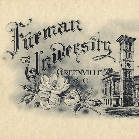 "A black and white watercolor reading ""Furman University Greenville, South Carolina"" with the Furman bell tower and a magnolia flower"