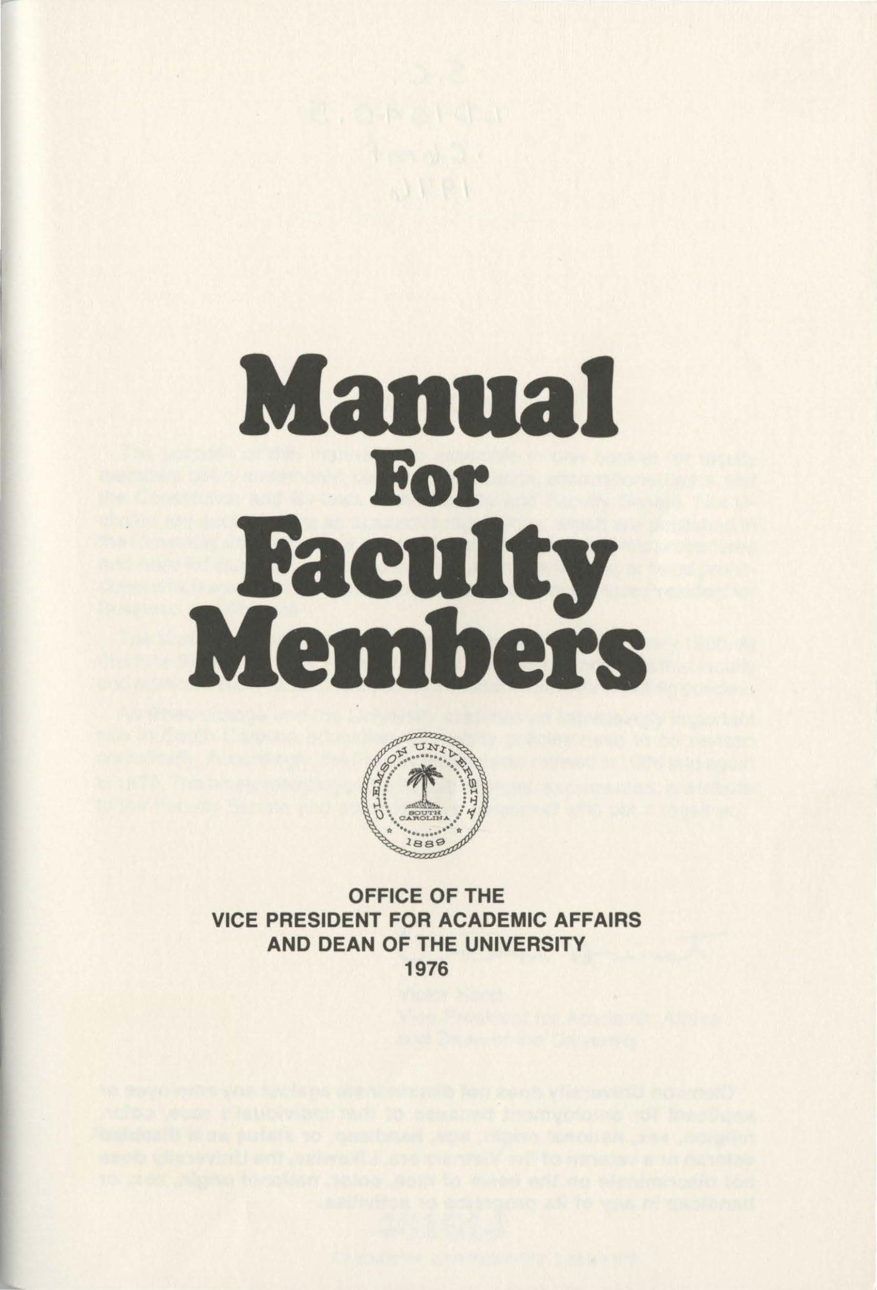 Clemson Faculty Manuals