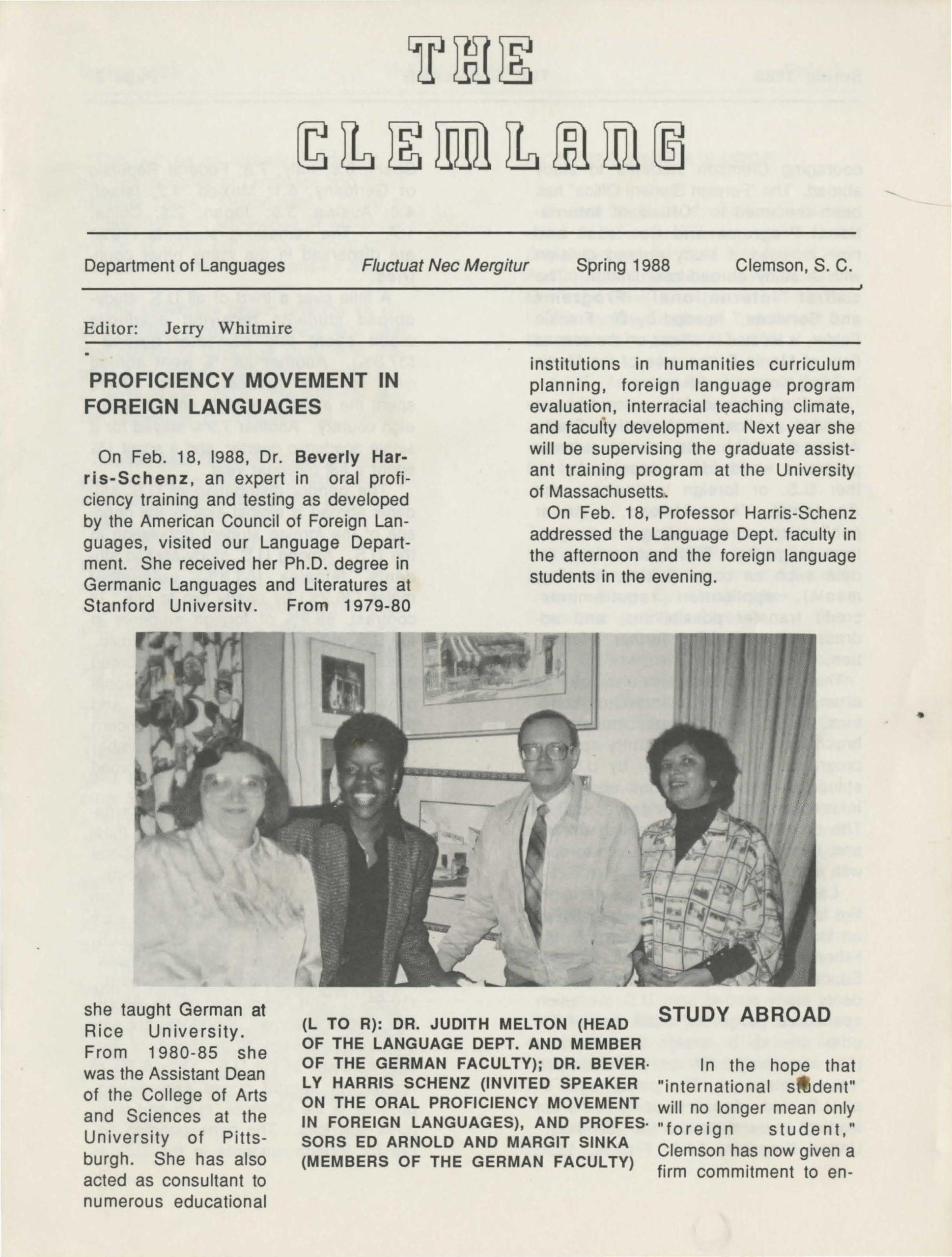 Clemson University Department of Languages Newsletters